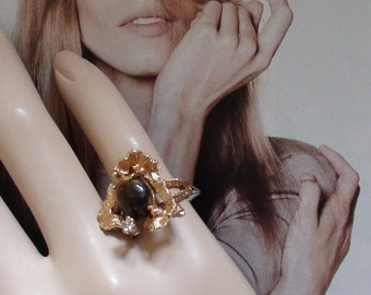 "REtro Impressionist Extravaganza  Ring Large Cluster 5/8"" X  1 "" Wide  size 5 Prong  Cabochon Tiger Eye 1960's Original Tags"