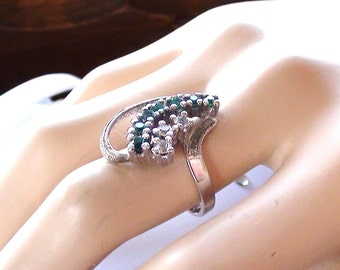 Ring Retro ROYAL Green Emerald Cz Exquisite Sterling  Size 6  Marked Uncas Cluster Ring Faux Diamonds and Faux Emeralds On SaLe Now