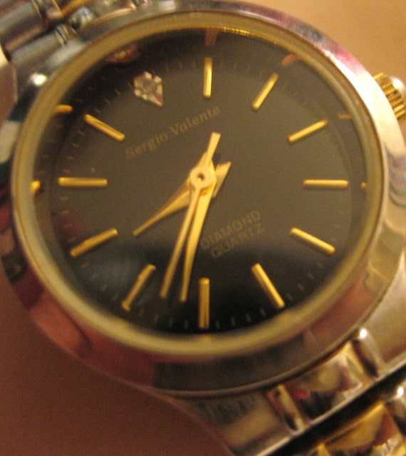 Vintage Sergio Valente Wrist Watch Quartz Diamond Chip Expandable Band from 1980s Working  On SaLe Now