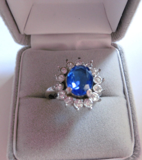 English 1960s Absolutely Amazing Ballerina Countess Design Blue Sapphire Crystal Cluster  Ring Adjustable from 5 up to  7  On SaLe Now