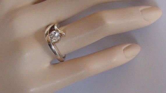 Modernist Ring Size 7 1/2 Cz 10mm Diamond like  Sparkle 925 Sterling Silver Engagment solitary Ring  On SaLe Now