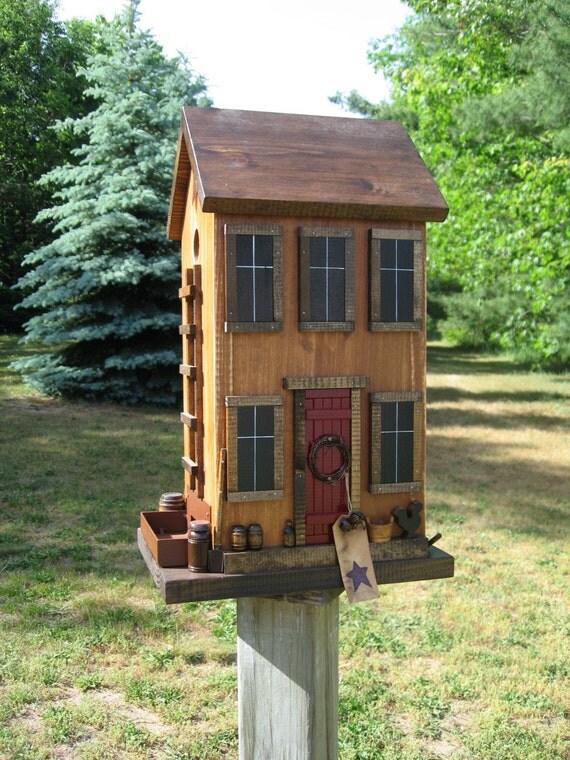 New ViNtage Harvest Gold FoLk Art Primitive SaltBox Country House Seed Box BIRDFEEDER Hand Saw
