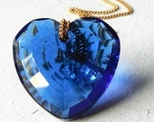 Valentine Crystal Heart Necklace Chain Big Blue Pendant