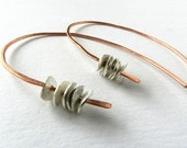 Hoop Earrings Silver Copper Hammered Jewelry