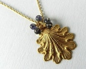 Gold Necklace Big Leaf Pendant Blue Iolite Beads Jewelry