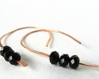 Hoop Earrings Copper Jet Black Crystal Beads