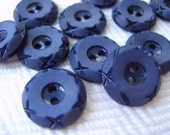 French Vintage Buttons - 6 Deep Royal Blue Mid Century Plastic