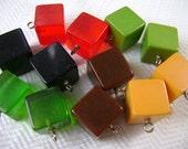 2 Bakelite Cube Vintage Buttons - Antique 1940s - YOUR CHOICE of Colors