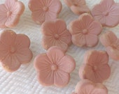 Glass Vintage Buttons - 1940s Pink Flowers