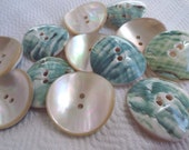 2 Green Snail Vintage Buttons - Scarce Material, Mid Century Mother of Pearl