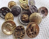 Steampunk Vintage Buttons - 14 Victorian to 1940s Antique Metal Buttons