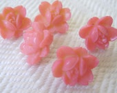 5 Pink Roses Buttons Handmade from Vintage Cabochons