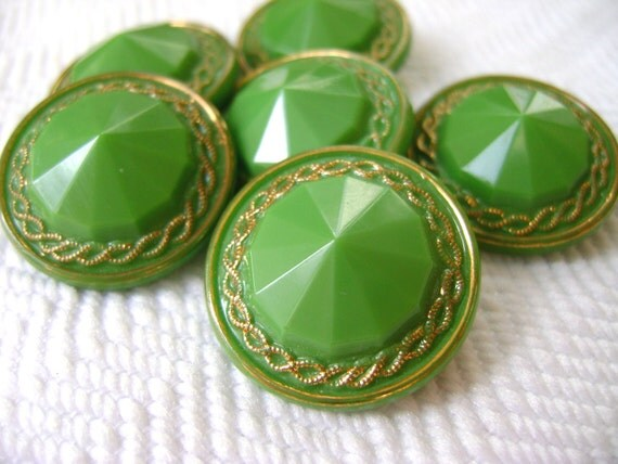Pyramid Glass Vintage Buttons - Lime and Gold - LAST in Stock