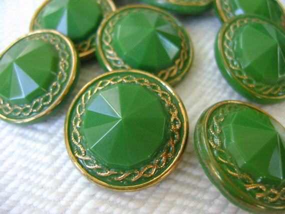 Glass Vintage Buttons - 6 Emerald Green and Gold