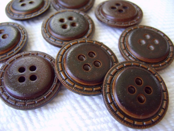 8 Vintage Buttons - Chocolate Brown Stitched Faux Leather