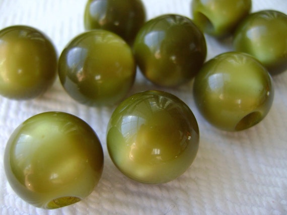 8 Olive Ball Buttons or Beads - Mid Century French Plastic