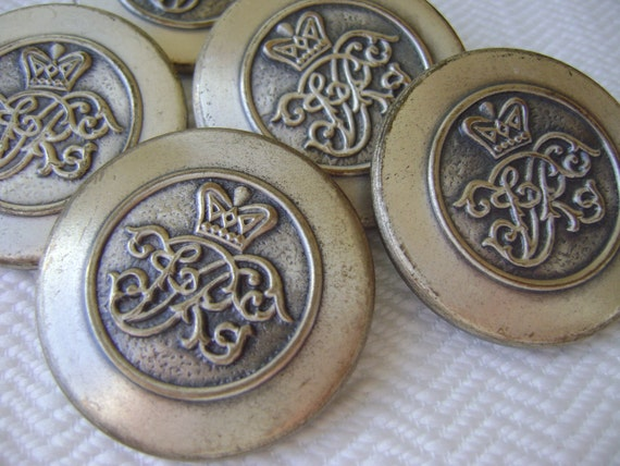 Silver Metal Vintage Buttons - Oranate Scroll and Crown - LAST in Stock