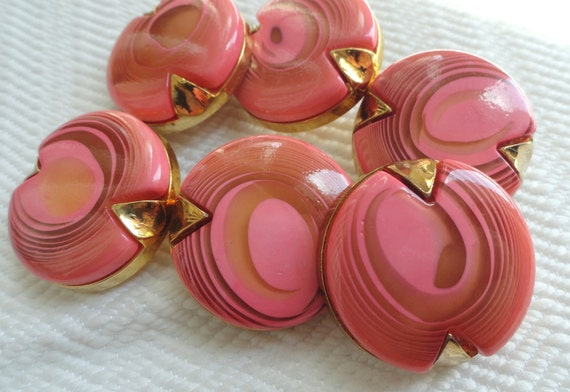 Reserved for Lee - Swirls Vintage Buttons - Pink Mid Century in YOUR CHOICE of Sizes