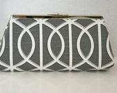 Custom Clutch Charcoal Dark Gray and White Clutch HandBag in Geometric Print Custom Made to Order