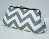 Grey and White Chevron Stripe Clutch for Bridesmaids or Gift
