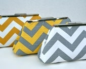 Custom bridal party gift in chevron Stripe Clutch Set for Bridesmaids Design your own in various fabrics and colors