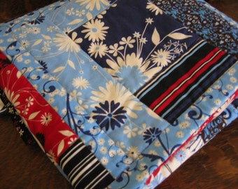 Baby Quilt in Blue and Red