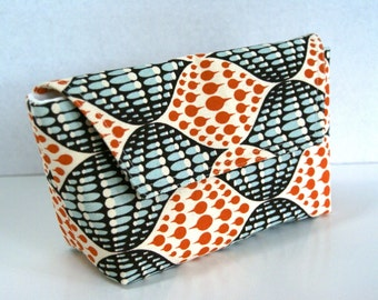 ON Sale Clutch with Flap in Orange and Blue Retro Geomtric Pattern