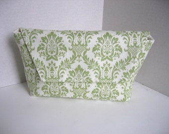 ON Sale Clutch in Green Damask Clutch with Magnetic Snap on Flap