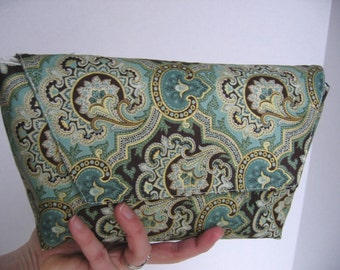 On-Sale Paisley Clutch in Blue and Green
