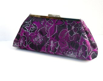 Custom Bridesmaids Gift Formal Handbag Clutch in Fuchsia and Black for Bridesmaids or Cocktail Party