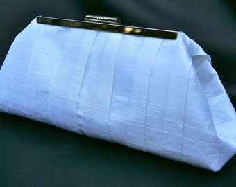 White Brides Handbag Clutch in White Silk Duponi Perfect Gift for Bride- custom make in color of your choosing.