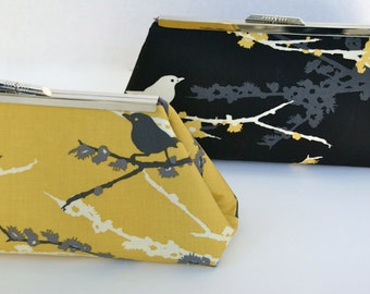 Custom Bridesmaid Gift Clutch in Yellow Gray and Black You Design your own in Various colors and fabrics