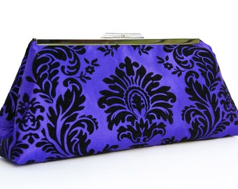 On Sale and Ready to Ship Purple and Black Clutch with Velvet Damask and Black Satin