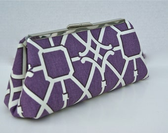 Purple Plum Clutch for Bridesmaids or gift with lattice- design your own