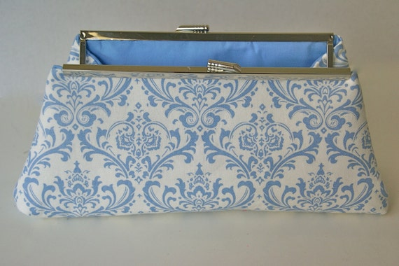 Blue and White Clutch in Damask for gift for Bride or Bridesmaids