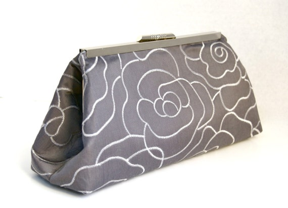 Formal Silver Clutch for Bridesmaids Clutch in Embroidered Silk