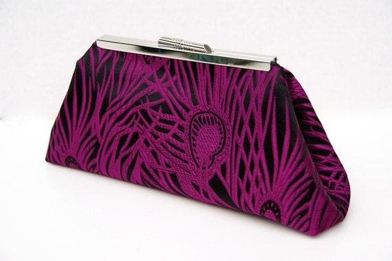 CUSTOM LISTING for Alicia Peacock Handbag Clutch in Fuchsia Custom Made for Bridesmaids or Gift