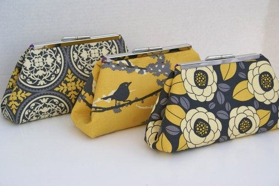 Custom Bridesmaids Gift Clutch in Yellow and Gray Wedding Party Handbag Clutch- Design your Own