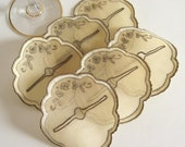 Organza Wine Glass Coasters . Vintage Set of 6 . Shabby Decor . Cottage Home . Champagne