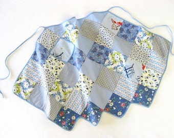 Vintage Half Apron • Blue Patchwork 1960s Handmade • Retro Kitchen • Baseball Theme • Gift for Cook
