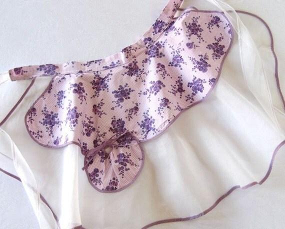Vintage Apron, Lavender Floral Cotton & Organza, 1950s Handmade, Retro Hostess, Purple, Cottage Kitchen, Gift for Her