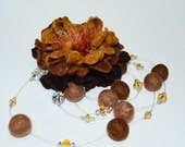 Hand felted brown flower wool brooch eco friendly soft Weddings Proms Celebrations bridesmaid gift idea holiday gift under 25