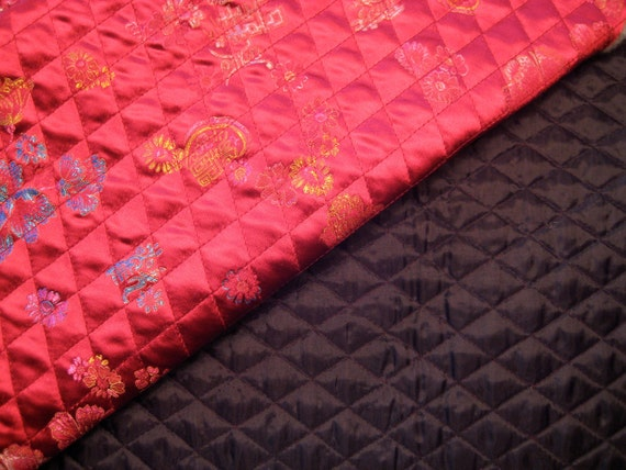 Satin Deep Pink Chinese Print Pre-Quilted Fabric