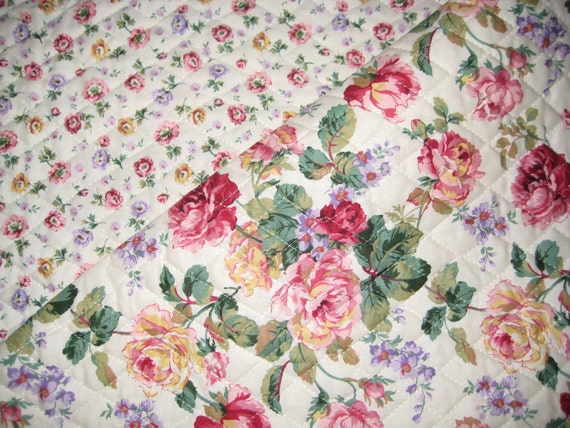 Rose Garden Pattern 2-Sided Pre-Quilted Fabric