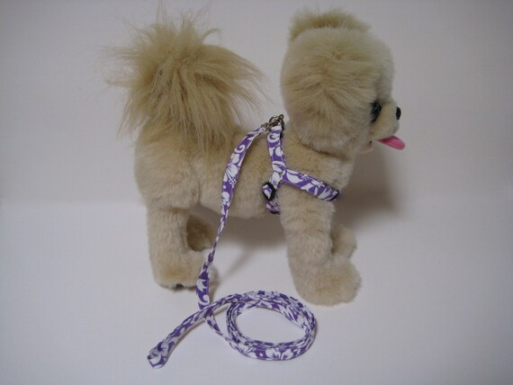 Purple and White Hibiscus- Step-In Adjustable Harness And Leash Set