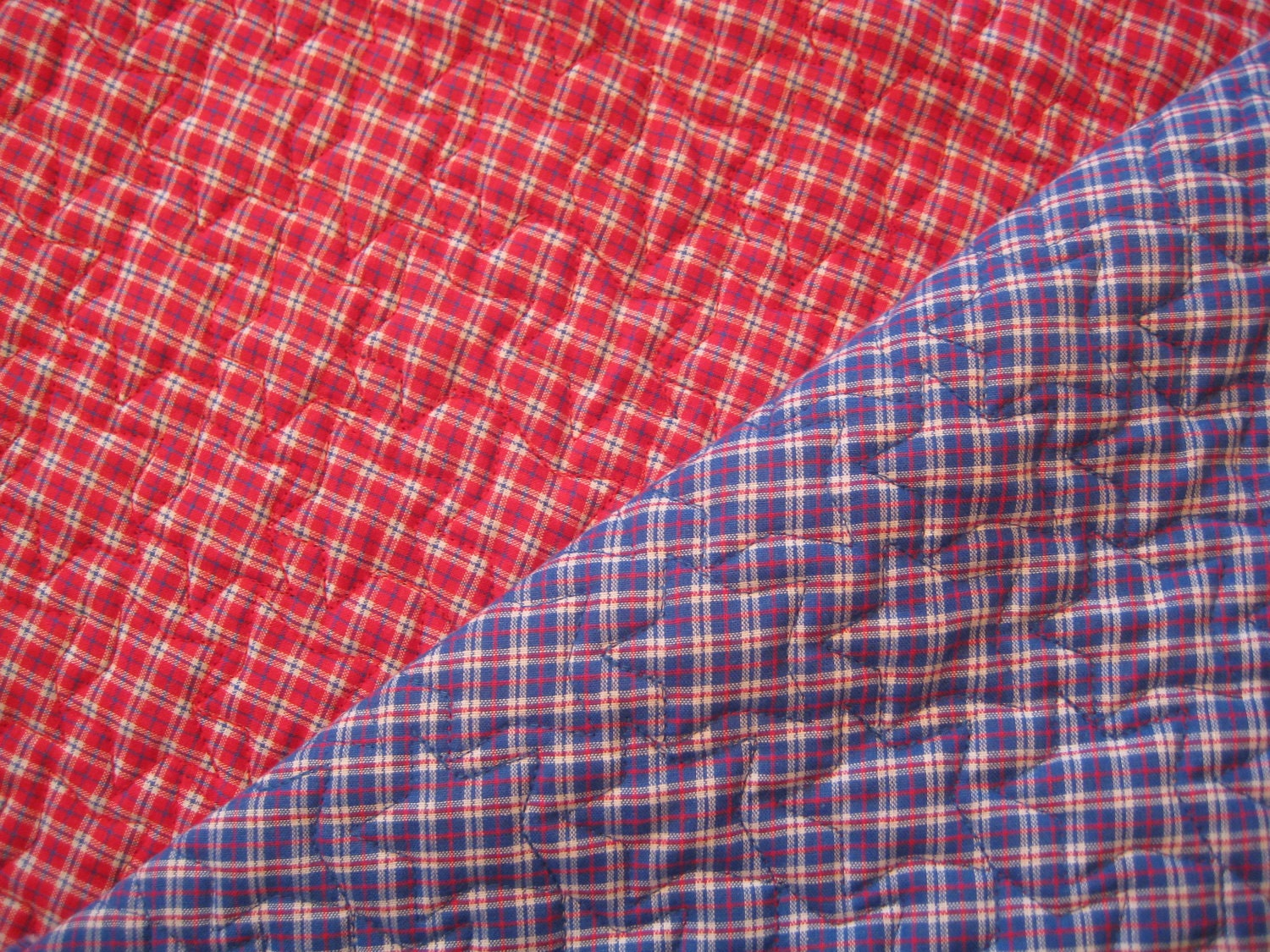 Quilted Fabric Blue Red & Blue Plai...