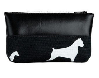 SALE- Coin Pouch with Zipper in A Walk in the Park Print, Black - Ready to Ship
