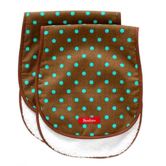 Sample Sale Half Price - Burp Cloth Set - Chocolate Blueberry