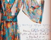 Kimono Style Robe.  Ankle Length.  Darling Jardin Bleu. Preorder to ship mid May.