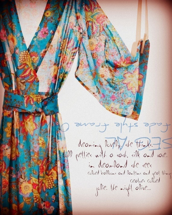 Kimono Style Robe.  Ankle Length.  Darling Jardin Bleu.